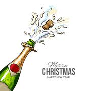 Christmas greeting card with cork popping out of champagne bottle Stock Illustration