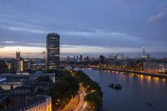 Tilt Shift lens effect image of the River Thames from the top of Riverwalk Stock Photos