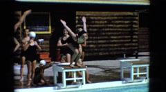 1953: kid swimming pool freestyle move fast water waves diving jump NEW YORK Stock Footage