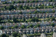Rows of Victorian terraced houses in London, England, United Kingdom, Europe Stock Photos