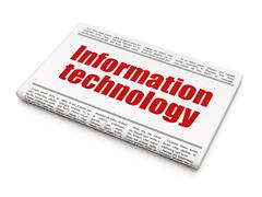 Information concept: newspaper headline Information Technology Stock Illustration