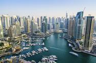 High view of Dubai Marina, Dubai, United Arab Emirates, Middle East Stock Photos