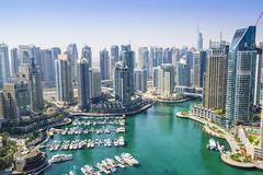 High view of Dubai Marina, Dubai, United Arab Emirates, Middle East Kuvituskuvat