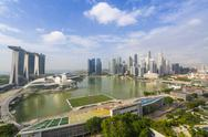 View over Singapore skyline around Marina Bay with Marina Bay Sands, ArtScience Stock Photos
