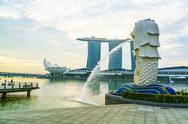 Merlion statue, the national symbol of Singapore and its most famous landmark, Stock Photos