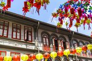 Restored and colourfully painted old shophouses in Chinatown, Singapore, Stock Photos