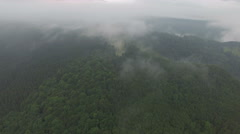 Fog over the forest in the mountains. aerial footage Stock Footage