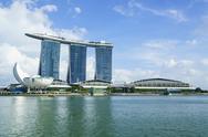 Marina Bay Sands hotel and lotus flower shaped ArtScience Museum, Marina Bay, Stock Photos