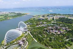 High view overlooking the Gardens by the Bay botanical gardens with its Stock Photos