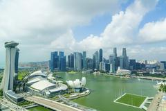 The towers of the Central Business District and Marina Bay in the morning, Stock Photos