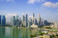 The towers of the Central Business District and Marina Bay in the early morning, Stock Photos