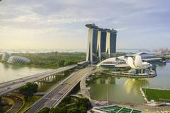 Roads leading to the Marina Bay Sands, Gardens by the Bay and ArtScience Museum Stock Photos