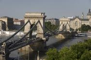 Chain bridge seen from above Clark Adam square, Budapest, Hungary, Europe Stock Photos