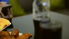 Pizza set and chicken snack on the table serve for meal Stock Footage
