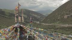 Tibetan Traditional Flag in Tibet Stock Footage