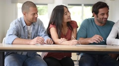 Group of people filling in application form Stock Footage