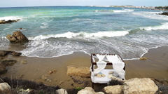Sun bed by the sea. Stock Footage