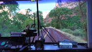 Zion National Park, Shuttle bus highway ahead Stock Footage