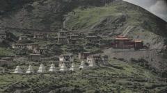 Tibetan traditional village outside Lhasa Stock Footage