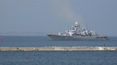 Ukrainian Navy Flagship - frigate Hetman Sahaydachniy U130 enters a port Stock Footage