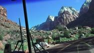Zion National Park, Shuttle bus, turning off main road Stock Footage