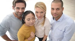 Group of people showing thumbs up to camera Stock Footage
