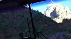 Windshield , Zion National Park, Shuttle bus Stock Footage