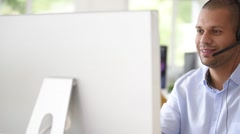 Customer service operator working in office Stock Footage