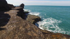 English Channel rocky coastline Stock Footage