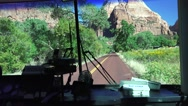 Zion National Park, Shuttle bus, highway scenery Stock Footage