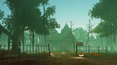 Halloween pumpkins near spooky haunted house 4K Stock Footage