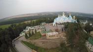 St Dukhovskoi Pochayiv Monastery from bird's eye view Stock Footage