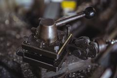 Parts of lathe machine Stock Photos