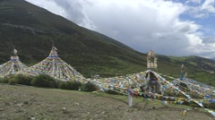 Tibetan traditional flag shots outside a village near Lhasa Stock Footage