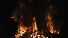 Fire at night. Combustion. Stock Footage