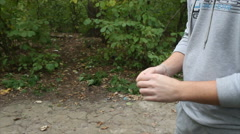 A coin toss in the woods Stock Footage