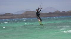 KITE BOARDING AIRBORNE CLIPS Stock Footage
