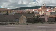 View of Sarrión with horse cart passing by, Gúdar-Javalambre, Teruel, Spain Stock Footage