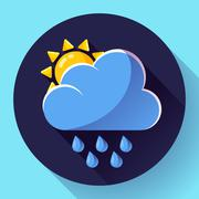 Vector flat color weather meteorology icon with long shadow Stock Illustration