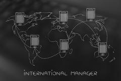 Group of linked international offices on map of the world Stock Illustration