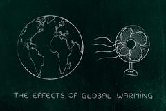 Global warming, planet earth and funny electric fan Stock Illustration