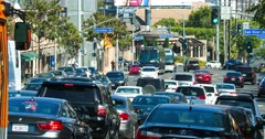 Traffic jam on Sunset Boulevard in Los Angeles, California, 4K, RAW Stock Footage