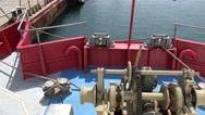 Anchor windlass hoist motor on main deck ship on sea Stock Footage