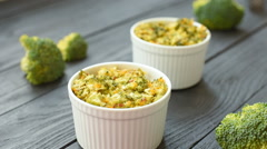 Dilicious dinner - baked broccoli and cheese Stock Footage