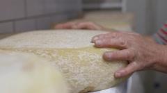 Woman Farmer making cheese in farm Stock Footage