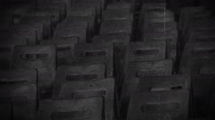 Abandoned hall with rows of empty chairs, commemoration of the Holocaust victims Stock Footage
