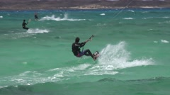 KITE BOARDING AT FLAG BEACH FUERTAVENTURA. Stock Footage