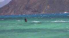 KITE BOARDING AT FLAG BEACH FUERTAVENTURA. Stock Footage