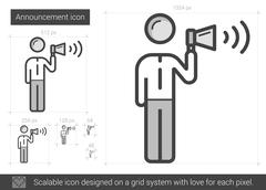 Announcement line icon Stock Illustration