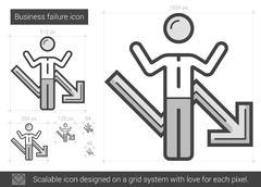 Business failure line icon Stock Illustration